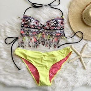 VS PINK Aztec Fringe Bikini, M/L